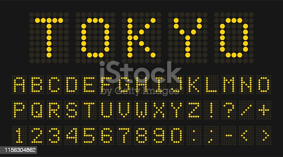 Led digital font, letters and numbers. English alphabet in digital screen style. Led digital board concept for airport, sport matches, billboards and advertising. Vector
