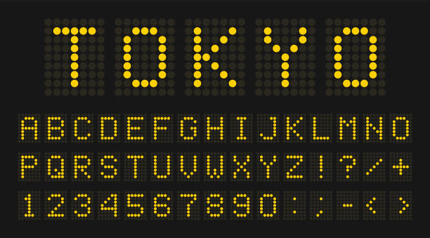 Led digital font, letters and numbers Led digital font, letters and numbers. English alphabet in digital screen style. Led digital board concept for airport, sport matches, billboards and advertising. Vector airport patterns stock illustrations