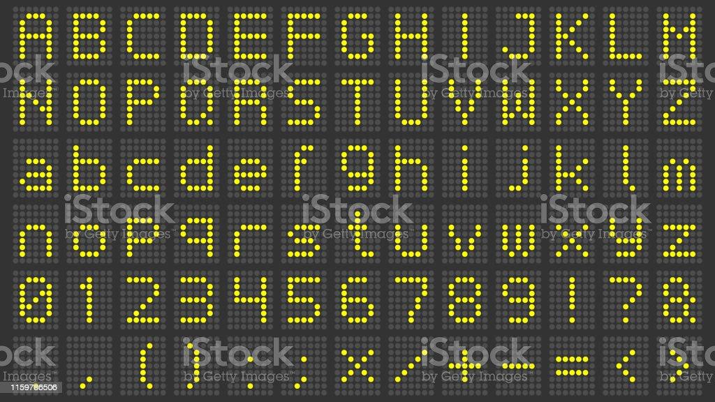 Led display font. Digital scoreboard alphabet, electronic sign...
