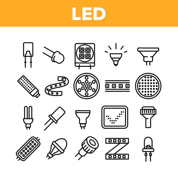ilustrações, clipart, desenhos animados e ícones de ícones de coleção de equipamentos de lâmpada saltada definidor - led