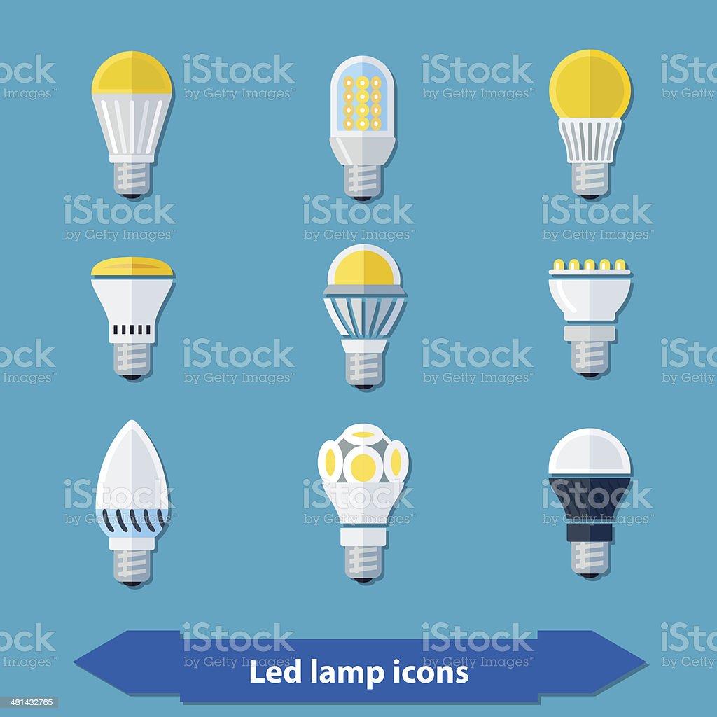 Led lamps flat vector art illustration