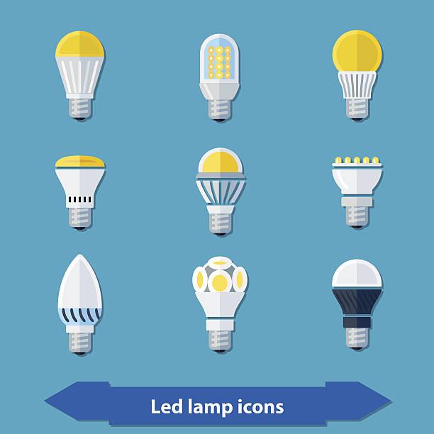 ilustrações, clipart, desenhos animados e ícones de lâmpadas led plana - led