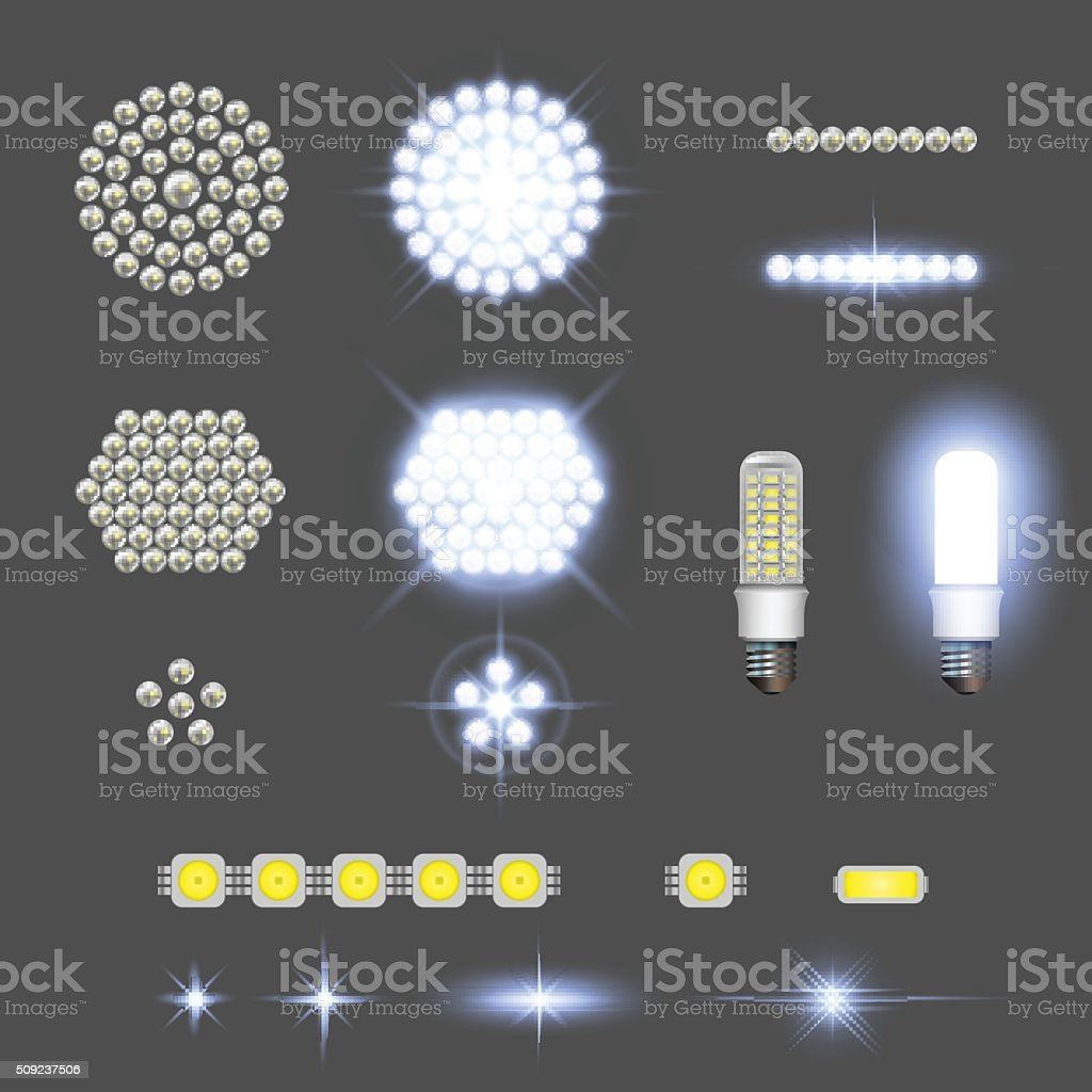 Led lamps with lights effects vector art illustration