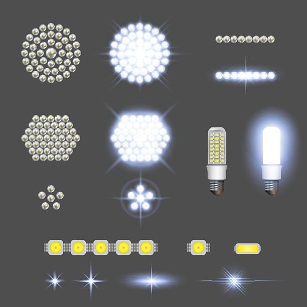 ilustrações, clipart, desenhos animados e ícones de lâmpadas levou com efeitos de luzes - led