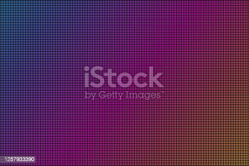istock Led screen. Dot RGB Background television. Vector stock illustration. 1257933390