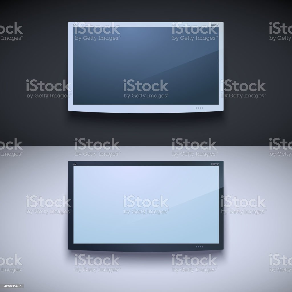 Led tv hanging on the wall vector art illustration