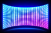 istock Led wall video screen with glowing dot lights 1257225027