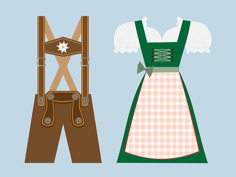lederhosen and dirndl vector illustration