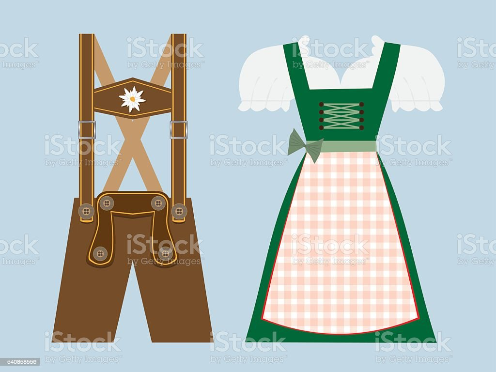 lederhosen and dirndl vector illustration vector art illustration