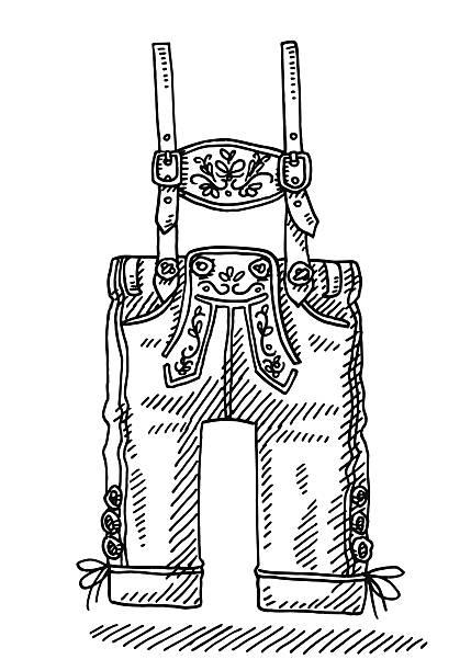 Lederhosen Bavarian Men's Clothing Drawing Hand-drawn vector drawing of a Lederhosen Bavarian Men's Clothing. Black-and-White sketch on a transparent background (.eps-file). Included files are EPS (v10) and Hi-Res JPG. oktoberfest stock illustrations