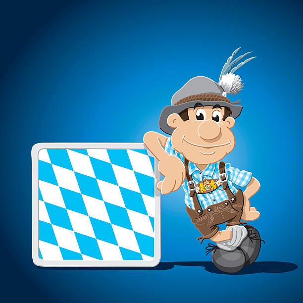 Lederhosen Cartoon Man Leaning Sign Vector Illustration of a Bavarian with Lederhosen, who is leaning against a Bavarian Flag sign. The Character, the sign and the background are on separate layers, so you easily can use the character within your own design. The colors in the .eps-file are ready for print (CMYK). Included files: EPS (v8) and Hi-Res JPG. cartoon people sign stock illustrations
