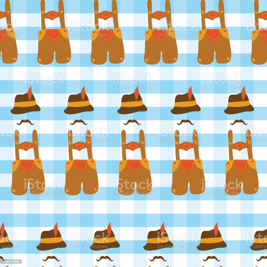 Lederhosen Oktoberfest hat, and mustache Oktoberfest seamless vector pattern. Blue and white checkered background. Bavarian Oktoberfest costume. vector art illustration