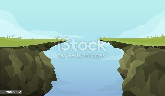 Ledge chasm empty template. Cliff in middle of green covered road banner deep dangerous abyss an extreme decision motivation decisive last jump cartoon graphic vector fear of inevitable.