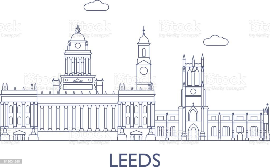 Leeds, The most famous buildings of the city vector art illustration
