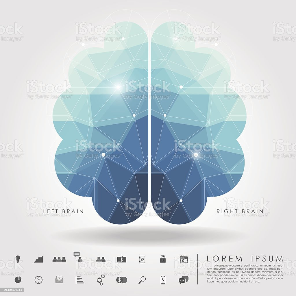 left and right brain polygon with business icon vector art illustration