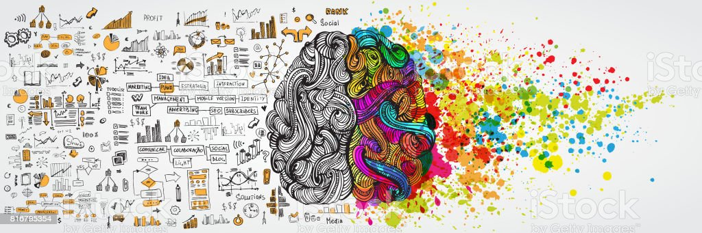 Left and right human brain with social infographic on logical side. Creative half and logic half of human mind. Vector illustration aboud social communication and business work vector art illustration