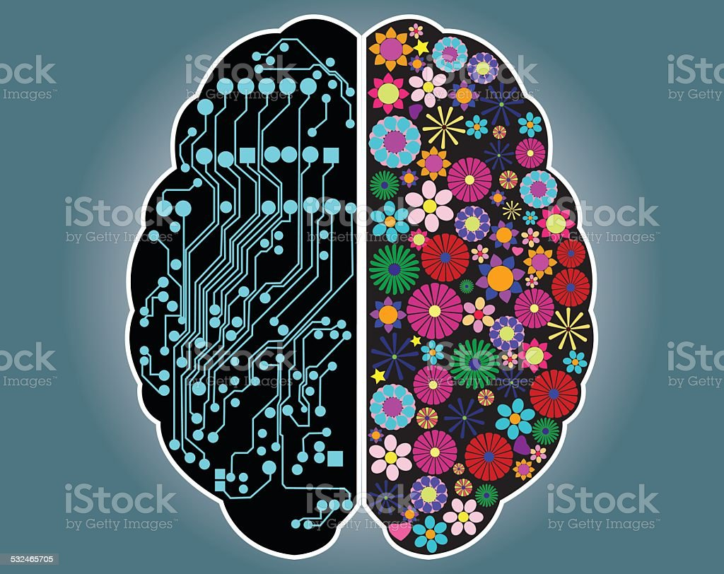 Left and right side of the brain, logic and creativity, vector vector art illustration
