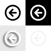 istock Left arrow button. Icon for design. Blank, white and black backgrounds - Line icon 1295497412