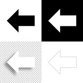 istock Left arrow. Icon for design. Blank, white and black backgrounds - Line icon 1296186996