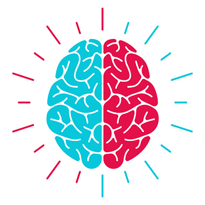 Left brain versus right brain thought thinking mental health concept symbol.