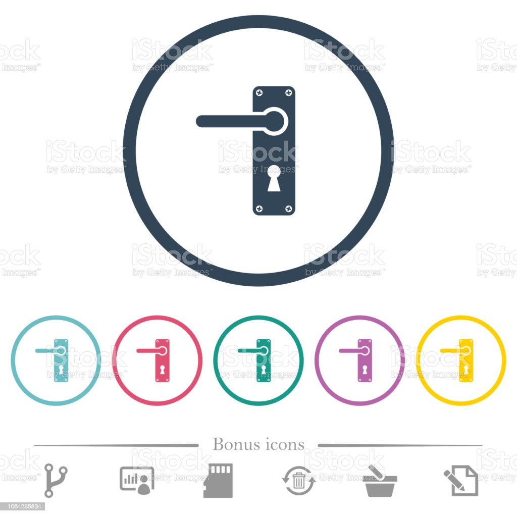 Left Handed Door Handle With Screws Flat Color Icons In Round Outlines  Royalty Free Left