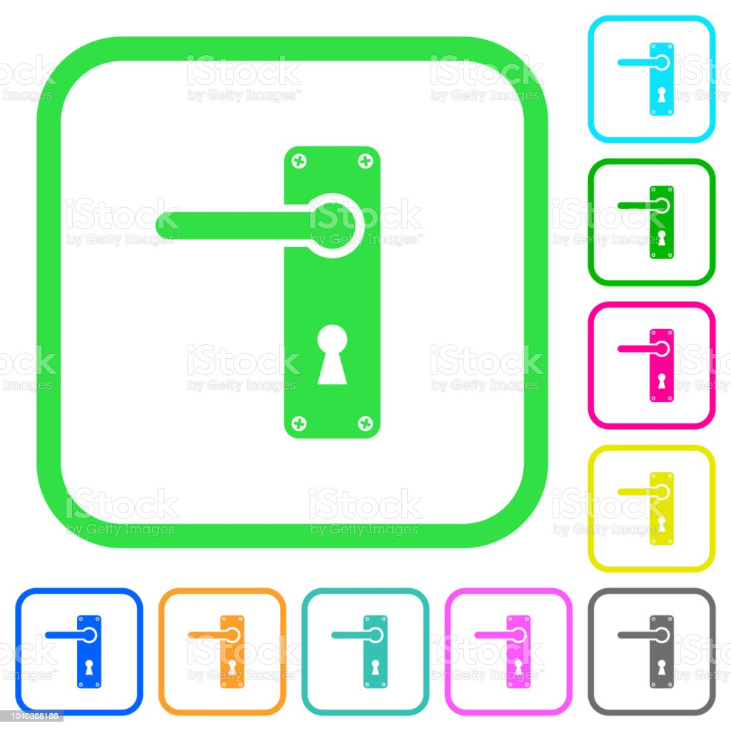 ... Left Handed Door Handle With Screws Vivid Colored Flat Icons ...