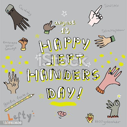istock Left Handers Day Doodle - August 13 Quirky Hands Background - Diverse Group of Human Hands 1328903639
