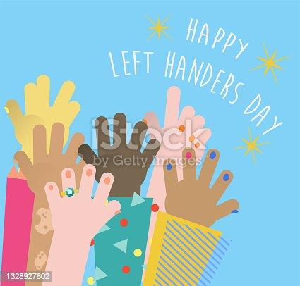istock Left Handers Day Flat Design with Diverse Group of Human Hands - August 13 Left Handers' Day 1328927602