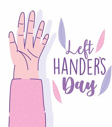 left handers day, open hand cartoon celebration