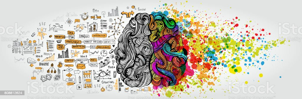 Left right human brain concept. Creative part and logic part with social and business doodle vector art illustration