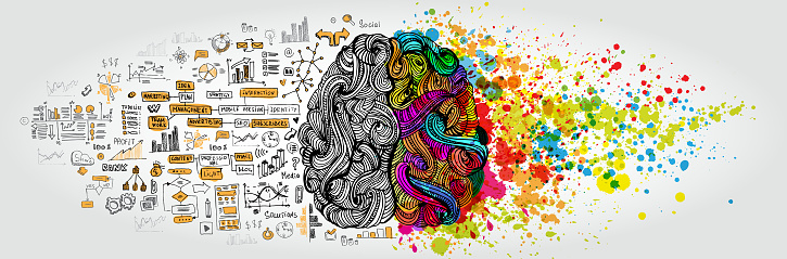 Left Right Human Brain Concept Creative Part And Logic Part With Social And Business Doodle - Immagini vettoriali stock e altre immagini di Accessorio personale