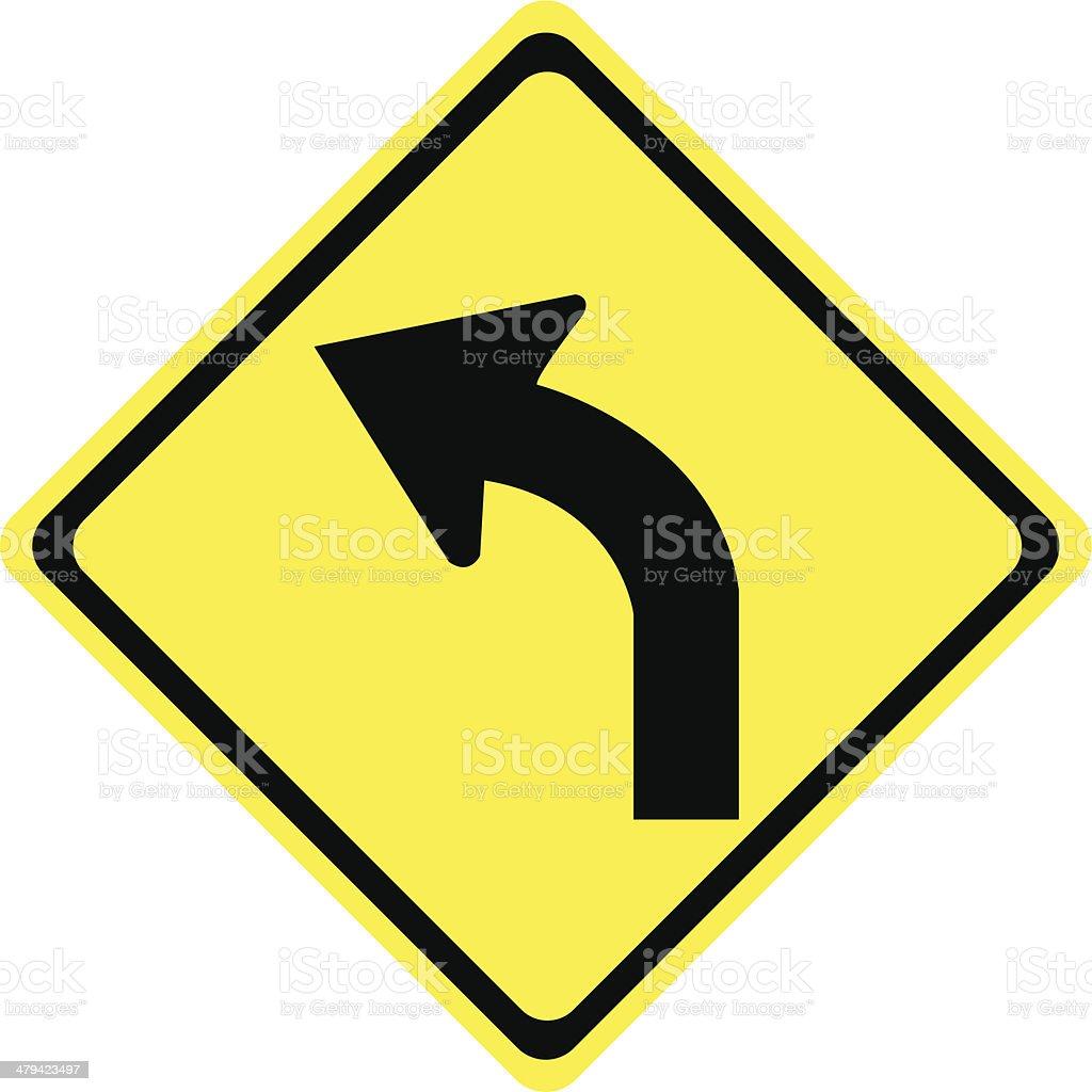 Left Turn Sign vector art illustration