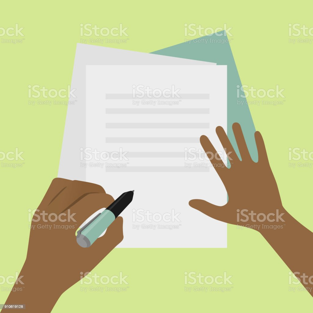 Left-handed signature on paper concept illustration vector art illustration