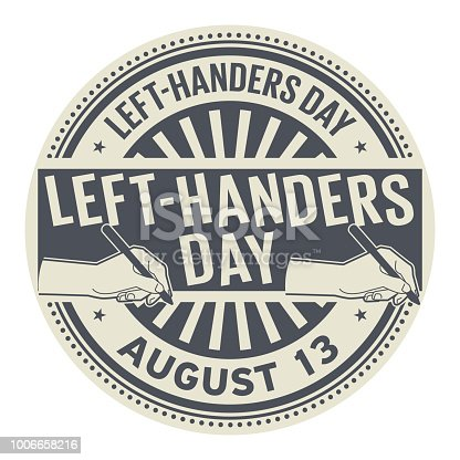 Left-Handers Day, August 13, rubber stamp, vector Illustration