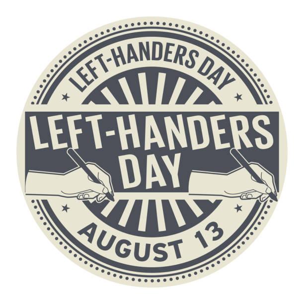 illustrazioni stock, clip art, cartoni animati e icone di tendenza di left-handers day, august 13 - mancino