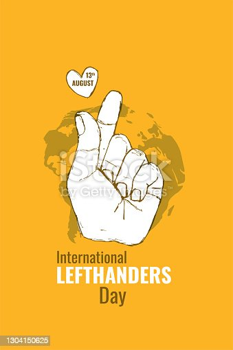 istock Left-handers day celebrate 13 august. Left hand print with map planet Earth and heart on yellow background. Greeting card, poster, banner, flyer, postcard concept design. Vector illustration 1304150625