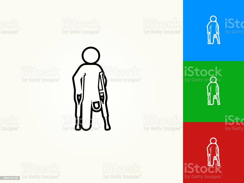 Leg Amputee Black Stroke Linear Icon vector art illustration