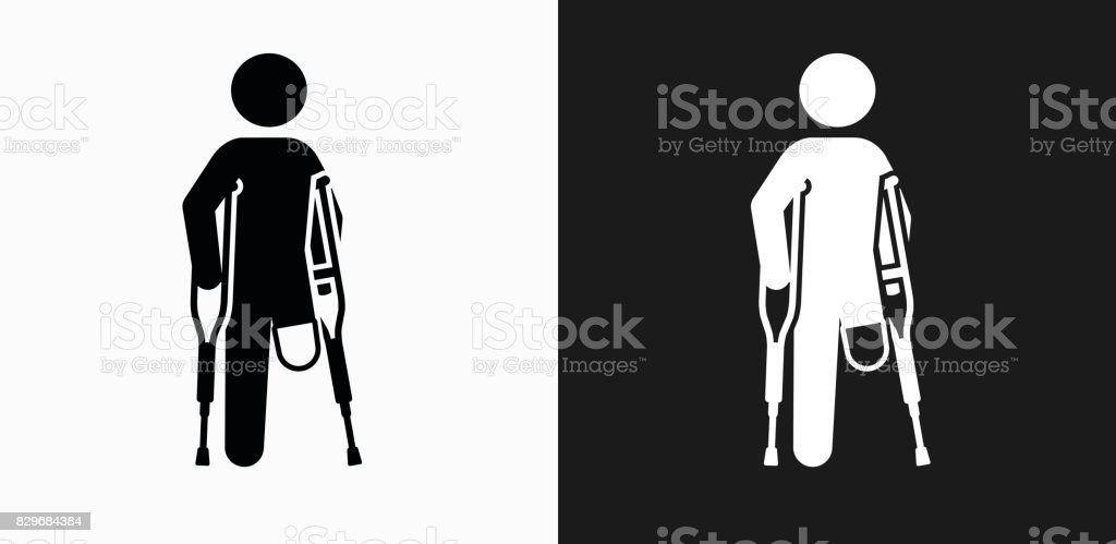 Leg Amputee Icon on Black and White Vector Backgrounds vector art illustration