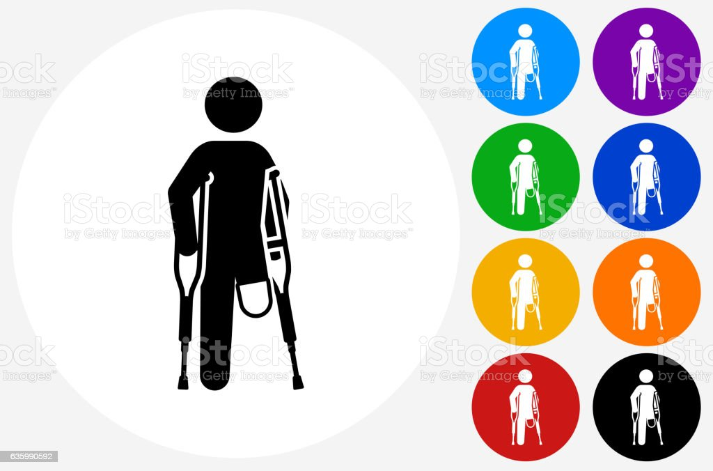 Leg Amputee Icon on Flat Color Circle Buttons vector art illustration