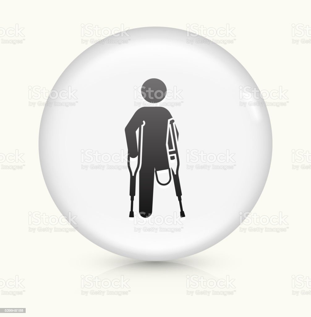 Leg Amputee icon on white round vector button vector art illustration