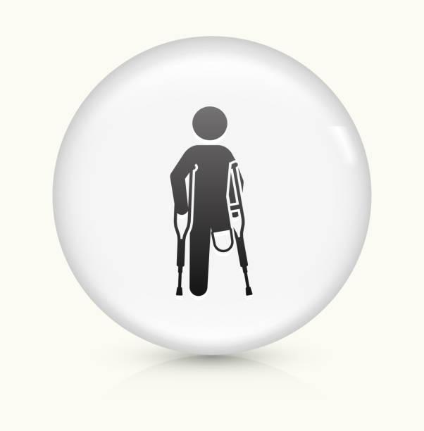 Leg Amputee icon on white round vector button vector art illustration