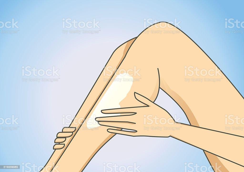 Leg lotion vector art illustration