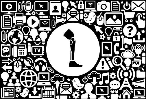 Leg Transplant Icon Black and White Internet Technology Background