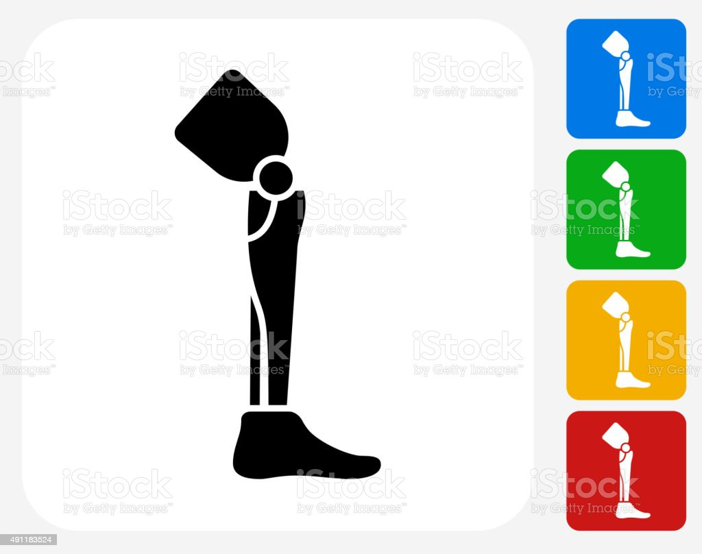 Leg Transplant Icon Flat Graphic Design vector art illustration