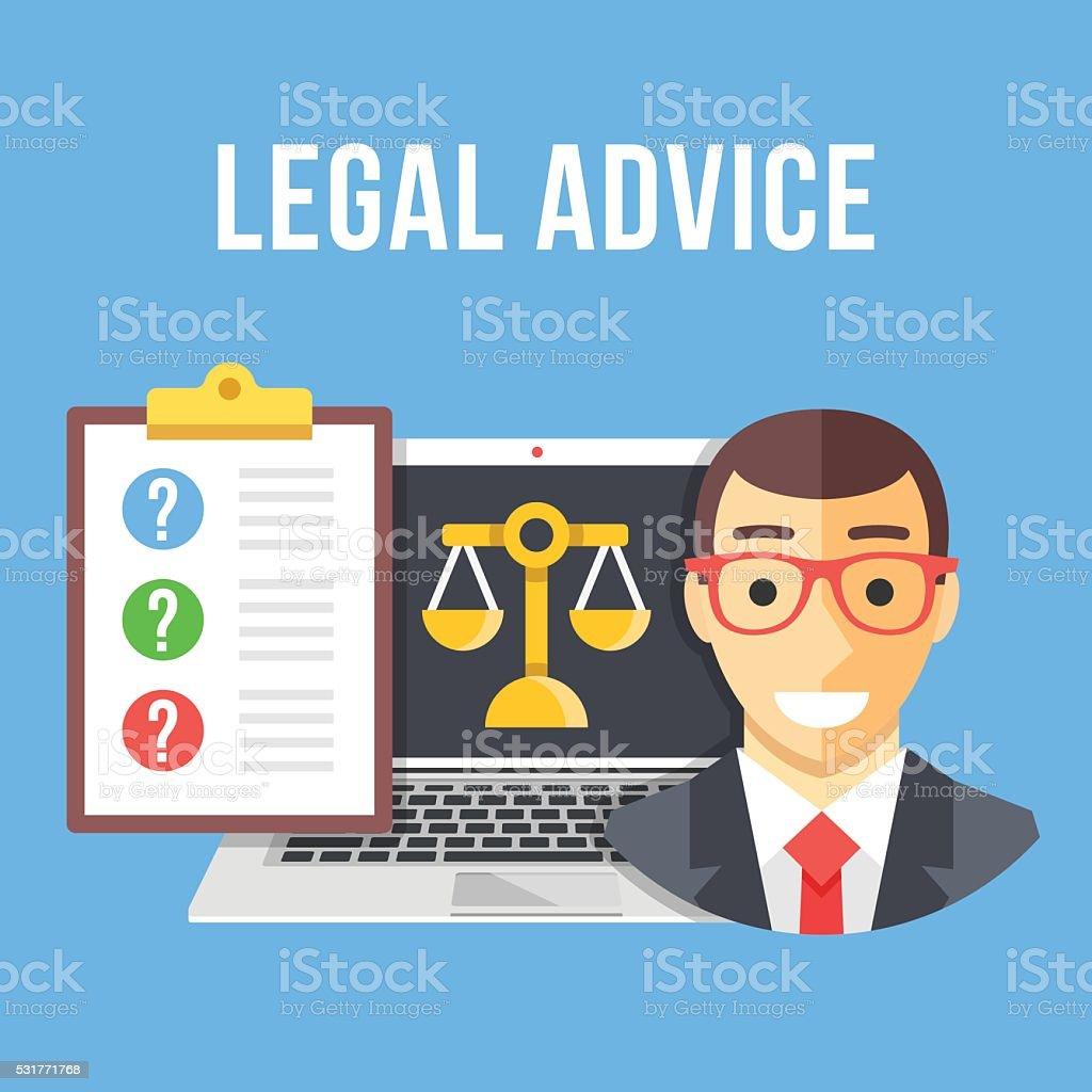 Asesoramiento jurídico. Creativo diseño plano ilustración de vectores - ilustración de arte vectorial
