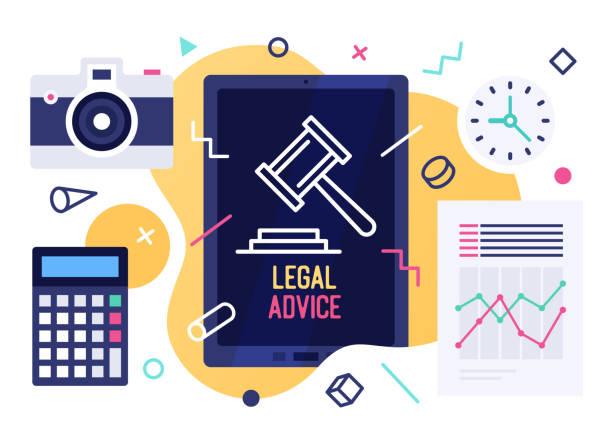 illustrations, cliparts, dessins animés et icônes de conseils juridiques vector illustration design - notaire