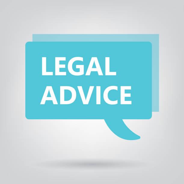 ilustrações, clipart, desenhos animados e ícones de aconselhamento jurídico escrito na bolha do discurso - assistente jurídico