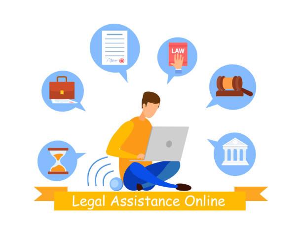 rechtsberater online service web banner vorlage - rechtsassistent stock-grafiken, -clipart, -cartoons und -symbole