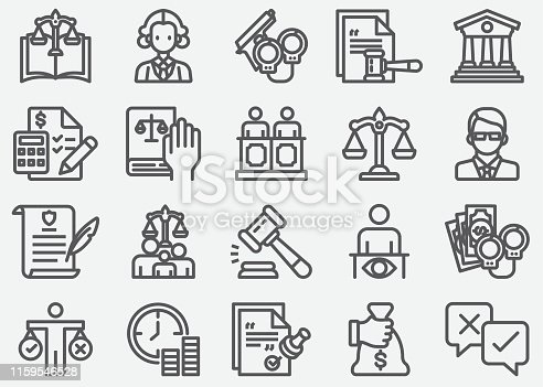 Legal and Notary Services Line Icons