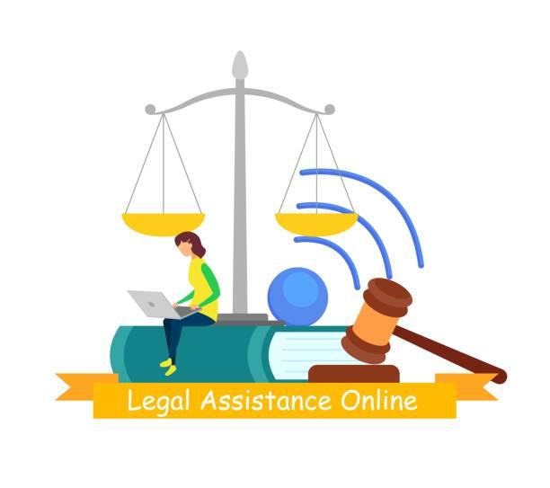 rechtshilfe, online consulting web banner - rechtsassistent stock-grafiken, -clipart, -cartoons und -symbole